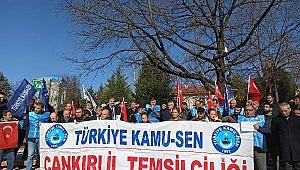 Çankırı'da Bordro Yakma Eylemi