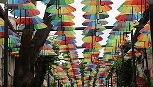 Çankırı'nın Şemsiyeli Sokak'ı Şemsiyelerine Kavuştu