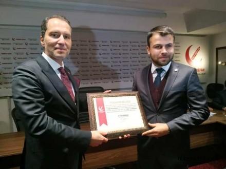 """Dr. Fatih Erbakan'dan Muhammed Fatih Müjdeci'ye, """"Teşekkür Belgesi"""""""