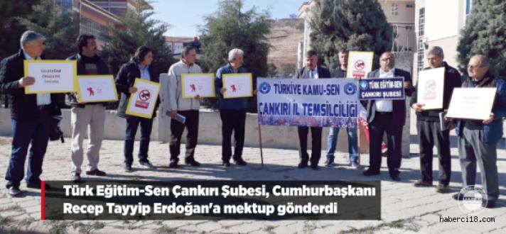 Türk Eğitim-Sen Çankırı Şube Başkanlığı Cumhurbaşkanı Recep Tayyip Erdoğan'a Mektup Gönderdi
